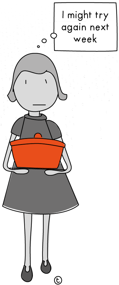 "Illustration of a woman holding a dish of food and saying ""I might try again next week"""