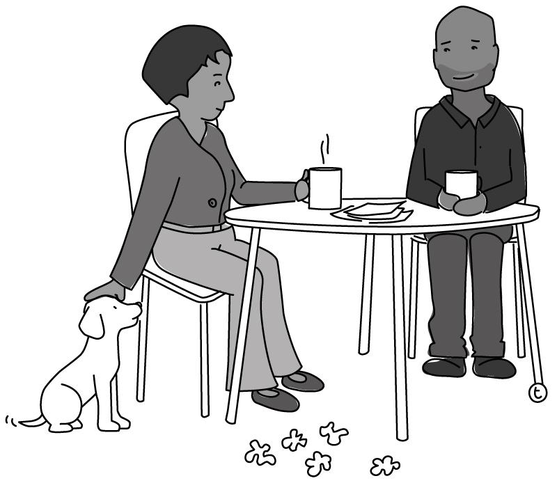 Illustration of people having coffee, smiling